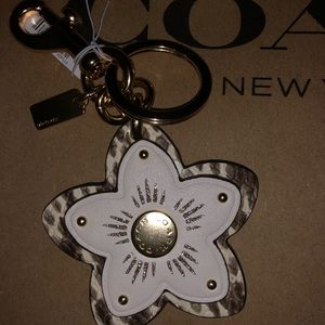 Coach wild flower leather key fob/ring NWT's.